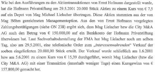 Ernst Hofmann verkauft gesperrte Managementaktien an Mike Lielacher