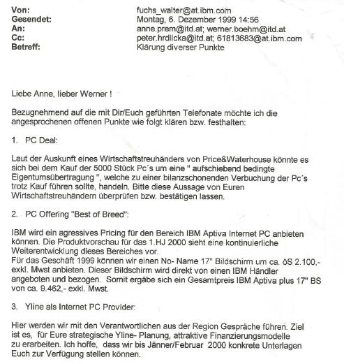 E-Mail von Walter Fuchs, IBM Manager, an den Vorstand der YLine