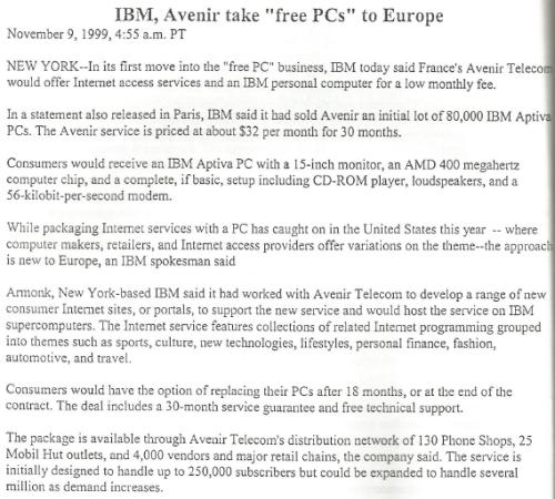 Das IBM Internet-PC-Projekt in Frankreich