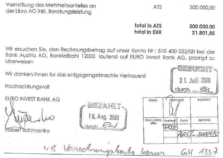 Rechnung von Euro Invest Bank