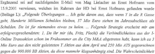 E-Mail von Mike Lielacher an Ernst Hofmann und Friedrich Scheck