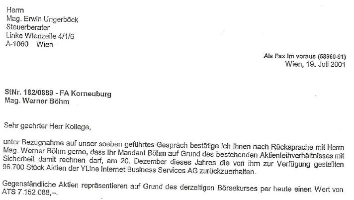 Friedrich Scheck bestätigt Aktienleihe von Werner Böhm