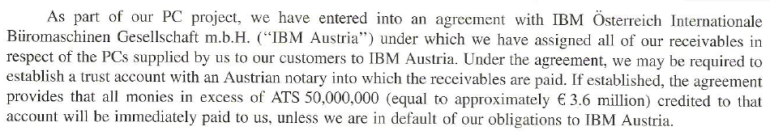 Darlegung des IBM-Projektes im Börsenprospekt