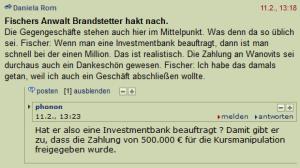 Rudolf Fischer über das Dankeschön für die Euro Investment Bank