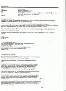 Email von Walter Fuchs an YLine