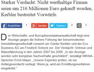 Anzeige gegen Friedrich Scheck