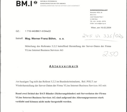 Aktenvermerk der BMI über die Unlesbarkeit der elektronischen Unterlagen
