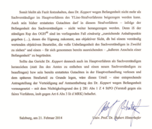 Fazit und Résumé des Gutachters Univ. Prof. Dr. Hinterhofer zur Befangenheit von Dr. Keppert
