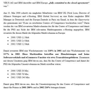 Antrag auf Ergänzungsgutachten - was sich IBM von YLine erwartete