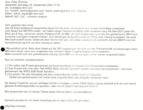 YLine-Vorstand Peter Hrdlicka beschwert sich bei IBM über deren Verhalten