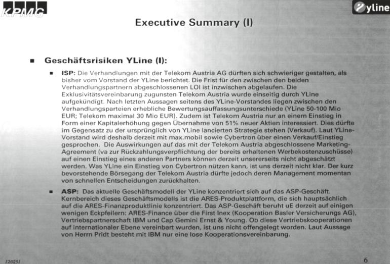 Executive Summery der KPMG über die YLine und die Sicht von Günter Pridt