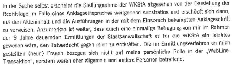 Äußerung von Christian Rosner zur Anklage iS YLine