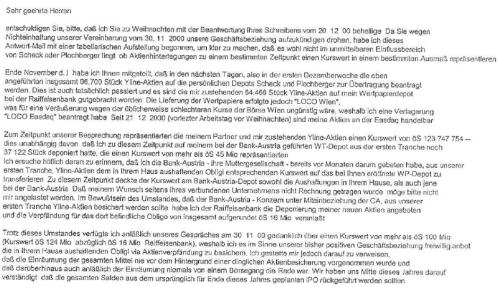 Den Ausführungen seines Anwaltes widersprechendes E-Mail von Fritz Scheck an seine Bank!