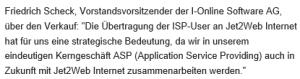 Friedrich Scheck zur Kooperation mit der Telekom