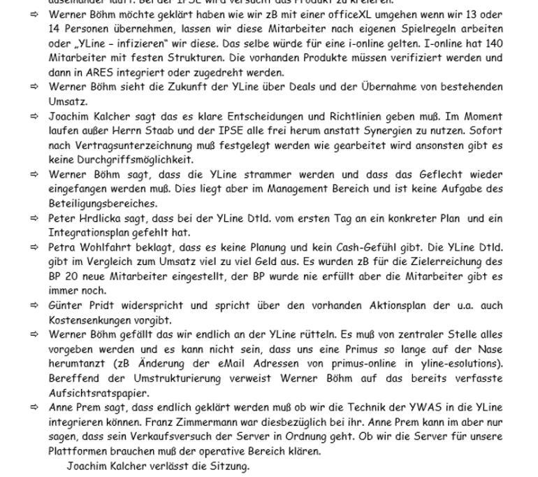 Auszug Vorstandsprotokoll YLine vom 14.3.2001