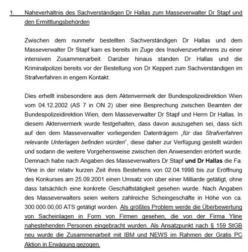 Der Ablehnungsantrag von Dr. Rohregger in Sachen Sachverständiger Dr. Hallas