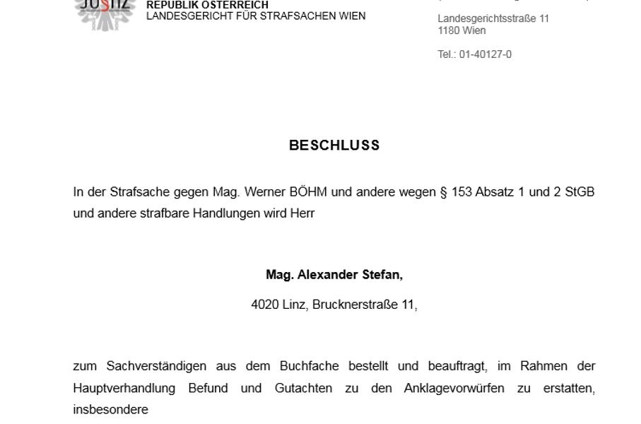 Der Auftrag an den Gutachter Mag. Alexander Stefan
