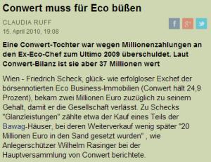 Rasinger über Scheck als Vorstand der ECO