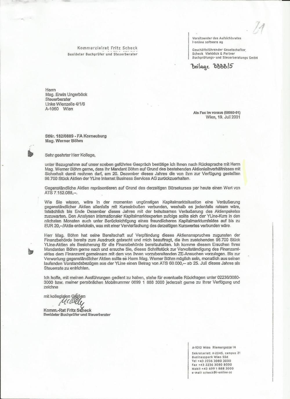 Schreiben von Fritz Scheck an meinen Steuerberater zur Vorlage beim Finanzamt