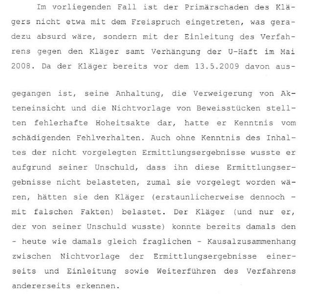 Auszug aus dem Urteil der Schadenersatzklage von Martin Balluch