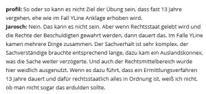 Stellungnahme von Gerhard Jarosch zur Akte YLine