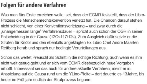 Das Libro-Verfahren beim EGMR ist auch für YLine interessant