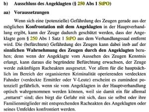 Zeugengefährdung nach § 250 StPO