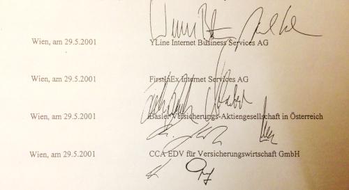 Unterschrift auf Auflösungsvereinbarung